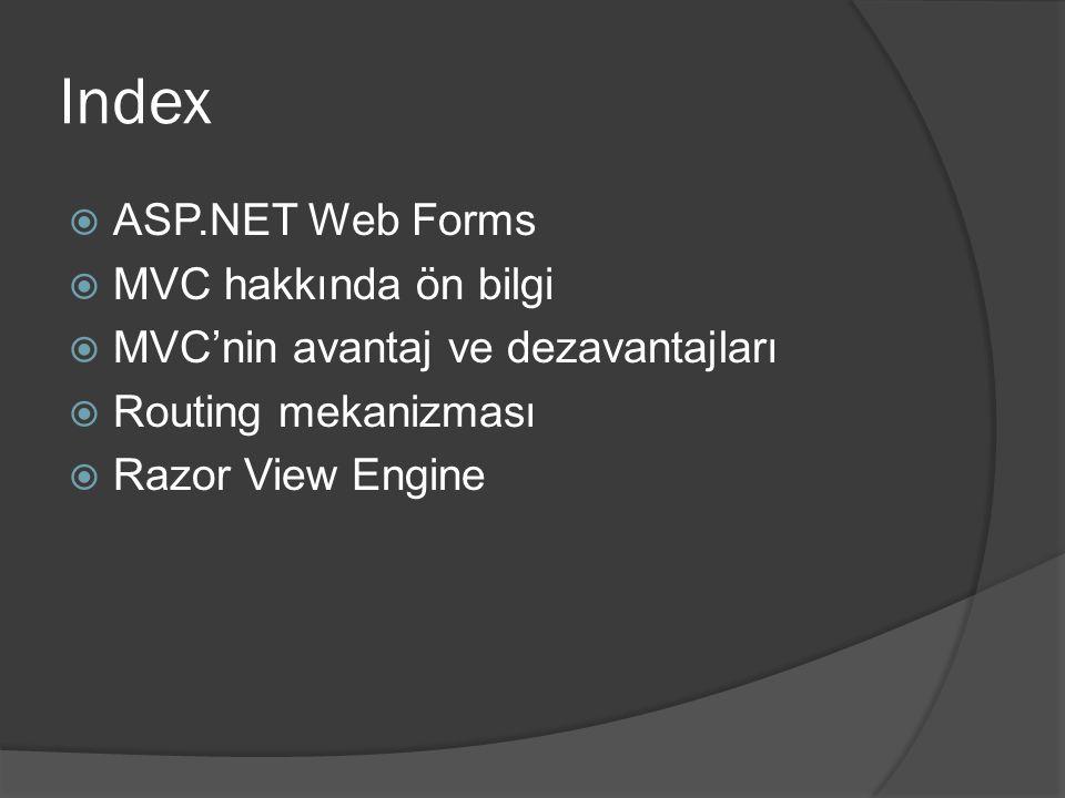 Index ASP.NET Web Forms MVC hakkında ön bilgi