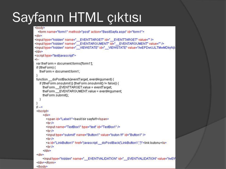 Sayfanın HTML çıktısı