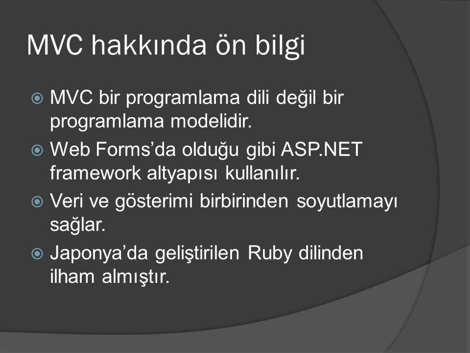 MVC hakkında ön bilgi MVC bir programlama dili değil bir programlama modelidir. Web Forms'da olduğu gibi ASP.NET framework altyapısı kullanılır.