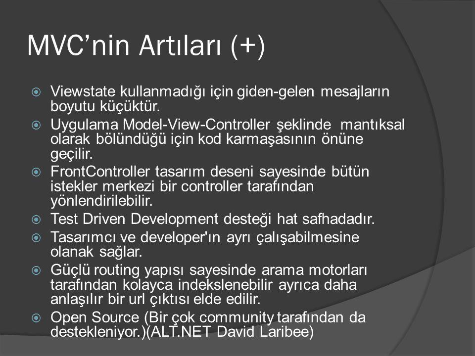 MVC'nin Artıları (+) Viewstate kullanmadığı için giden-gelen mesajların boyutu küçüktür.