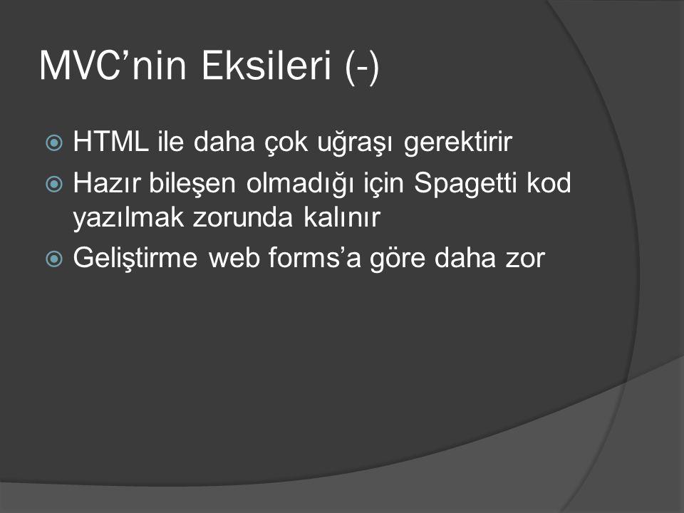 MVC'nin Eksileri (-) HTML ile daha çok uğraşı gerektirir