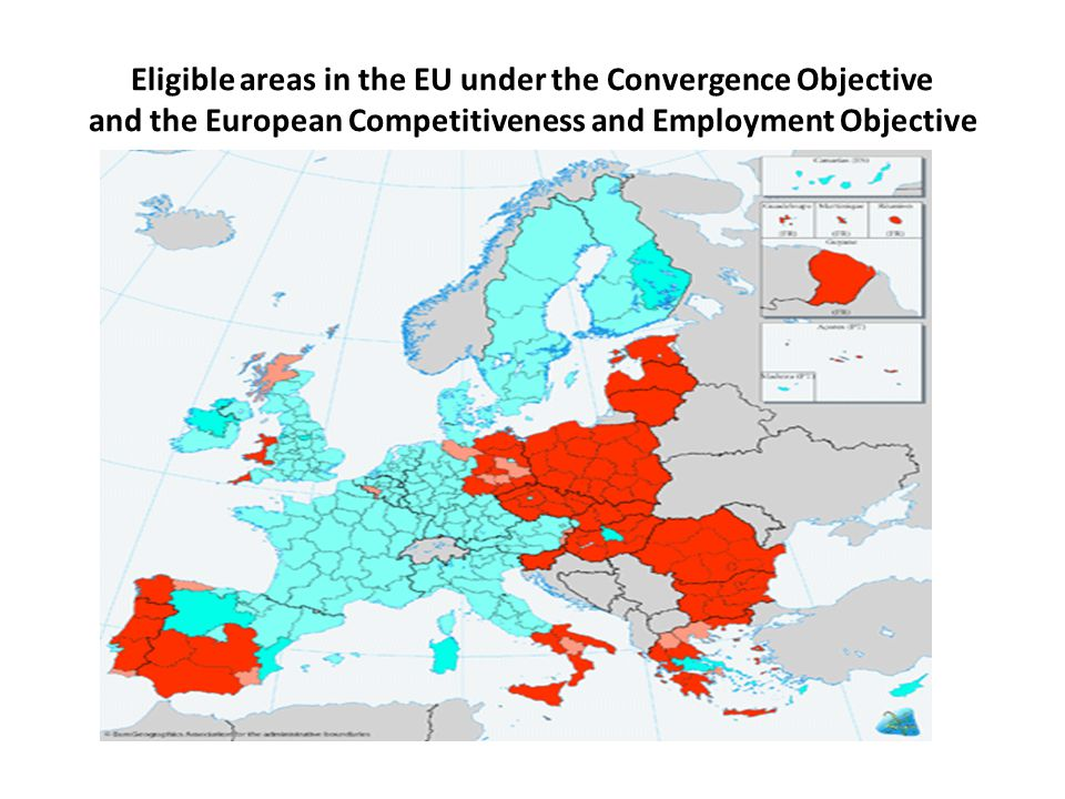 Eligible areas in the EU under the Convergence Objective and the European Competitiveness and Employment Objective