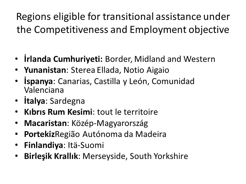 Regions eligible for transitional assistance under the Competitiveness and Employment objective