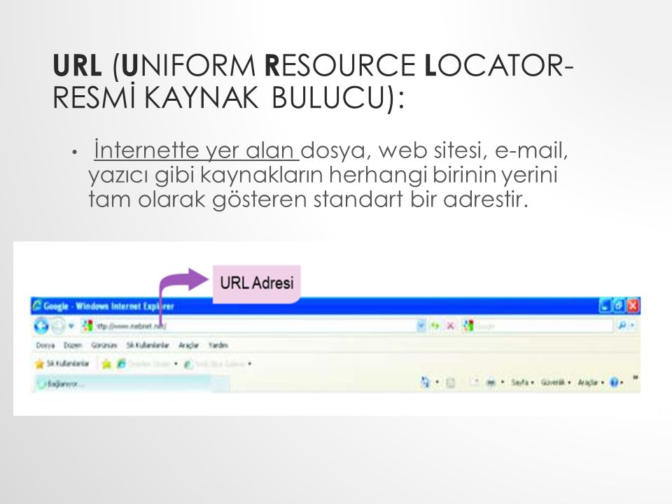 URL (Uniform Resource Locator- RESMİ KAYNAK BULUCU):