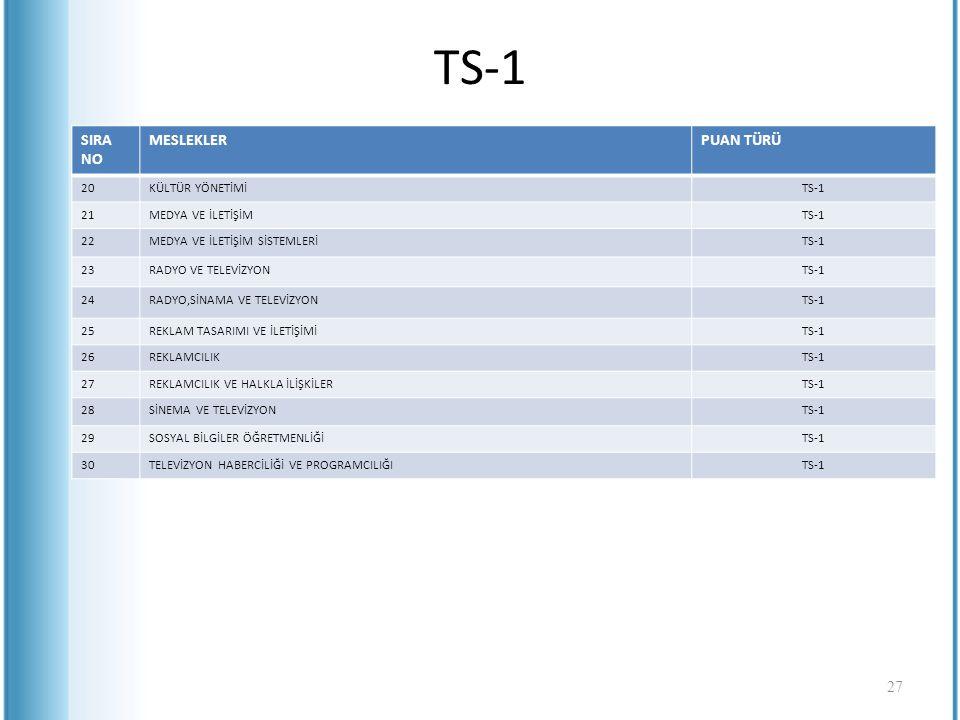 TS-1 SIRA NO MESLEKLER PUAN TÜRÜ 20 KÜLTÜR YÖNETİMİ TS-1 21