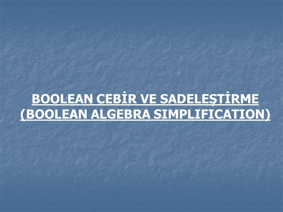 BOOLEAN CEBİR VE SADELEŞTİRME (BOOLEAN ALGEBRA SIMPLIFICATION)
