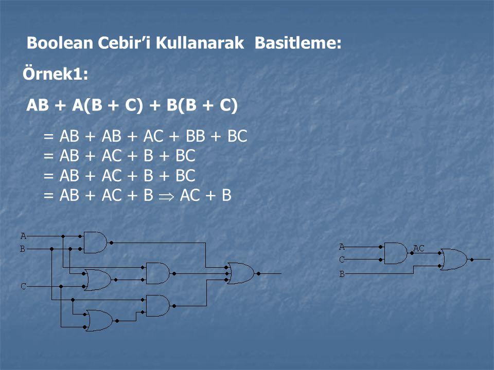 Boolean Cebir'i Kullanarak Basitleme: