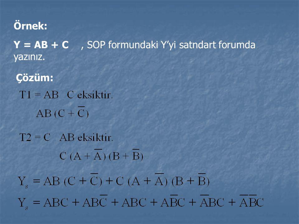 Örnek: Y = AB + C , SOP formundaki Y'yi satndart forumda yazınız. Çözüm: