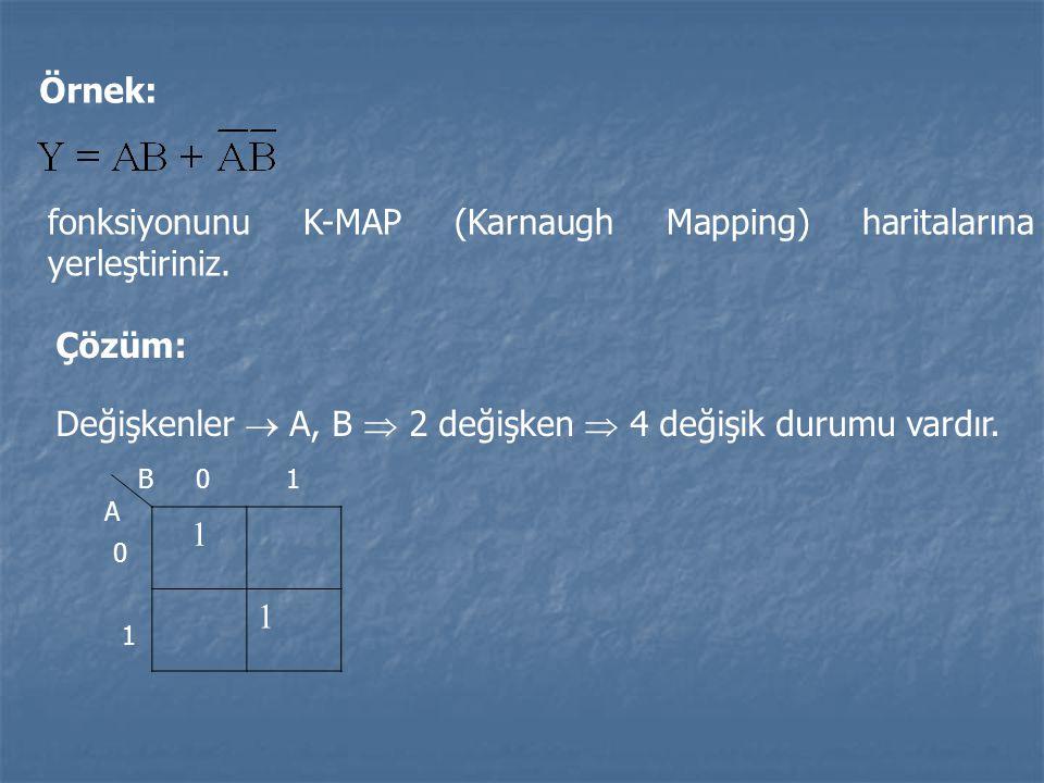 fonksiyonunu K-MAP (Karnaugh Mapping) haritalarına yerleştiriniz.