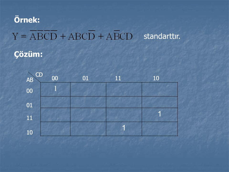 Örnek: standarttır. Çözüm: CD 00 01 11 10 AB 1 00 01 11 10