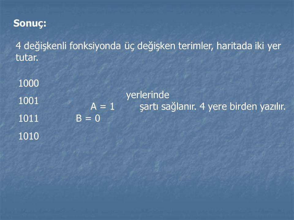 Sonuç: 4 değişkenli fonksiyonda üç değişken terimler, haritada iki yer tutar. 1000. 1001. 1011. 1010.