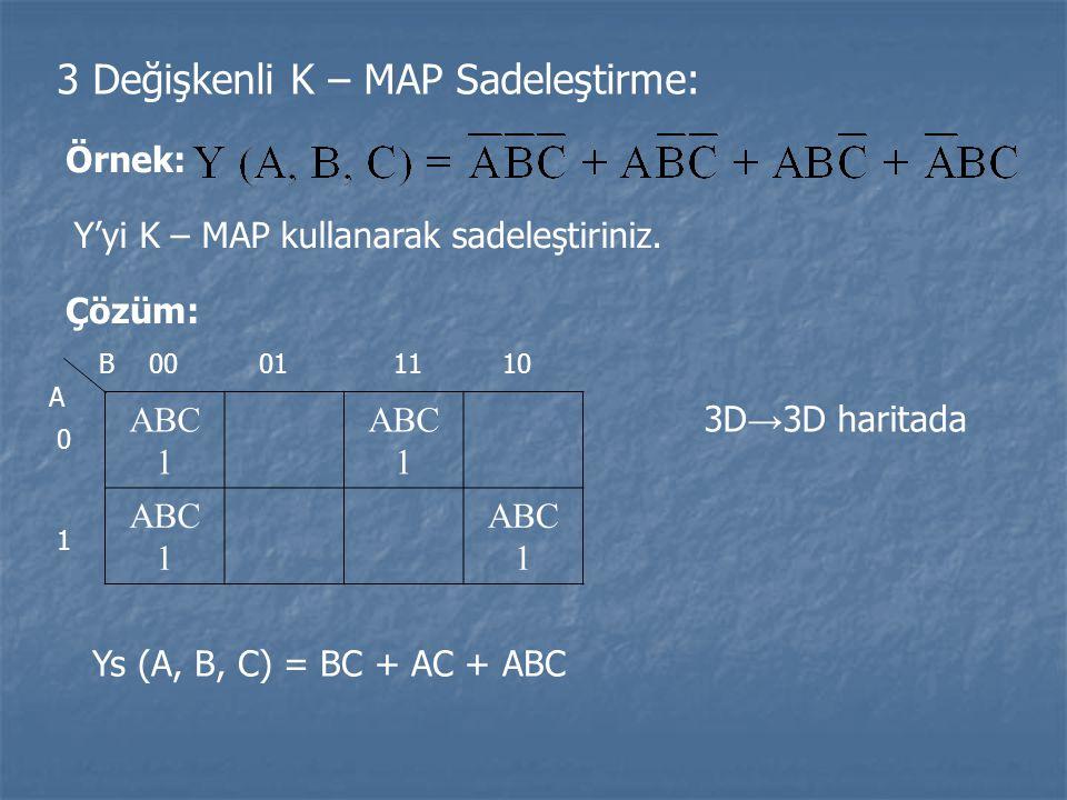 3 Değişkenli K – MAP Sadeleştirme: