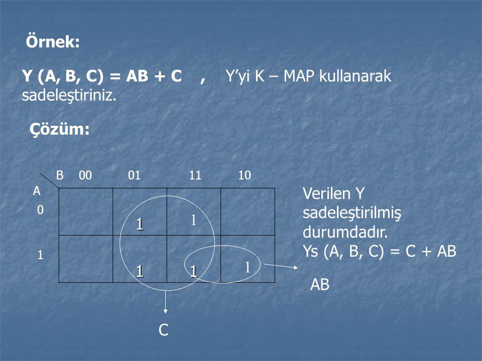 Y (A, B, C) = AB + C , Y'yi K – MAP kullanarak sadeleştiriniz.