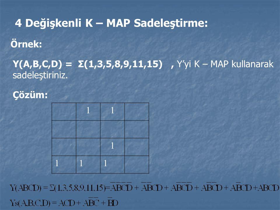 4 Değişkenli K – MAP Sadeleştirme: