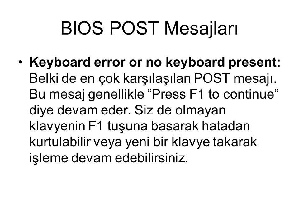 BIOS POST Mesajları