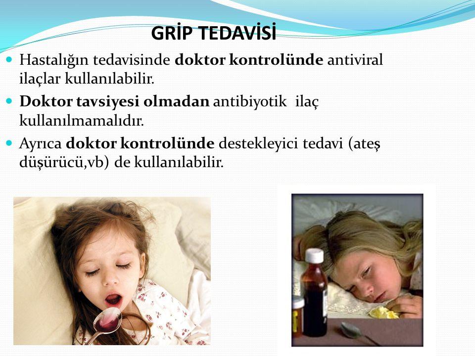 GRİP TEDAVİSİ Hastalığın tedavisinde doktor kontrolünde antiviral ilaçlar kullanılabilir.