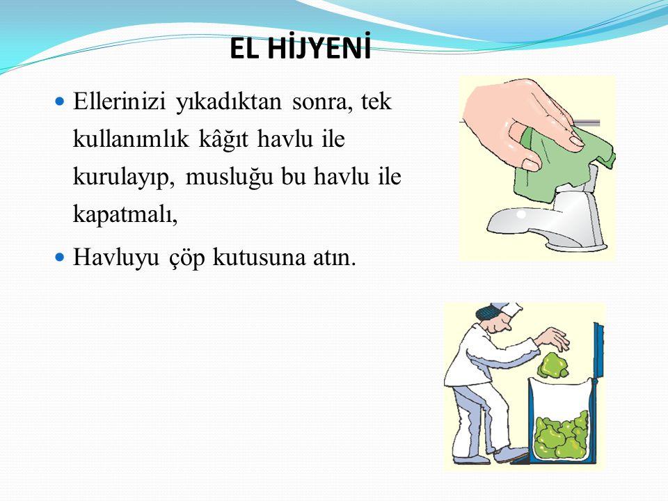 EL HİJYENİ Ellerinizi yıkadıktan sonra, tek kullanımlık kâğıt havlu ile kurulayıp, musluğu bu havlu ile kapatmalı,