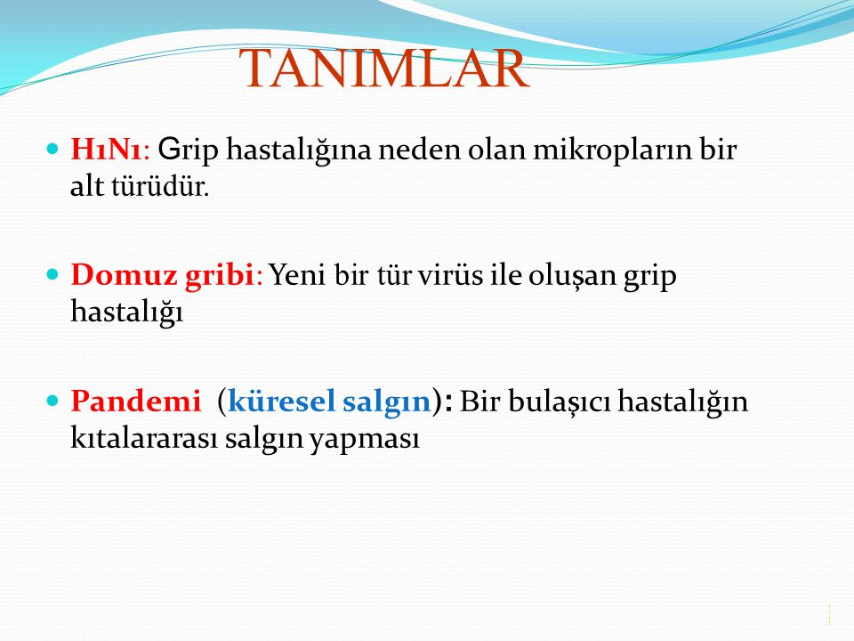 TANIMLAR H1N1: Grip hastalığına neden olan mikropların bir alt türüdür. Domuz gribi: Yeni bir tür virüs ile oluşan grip hastalığı.