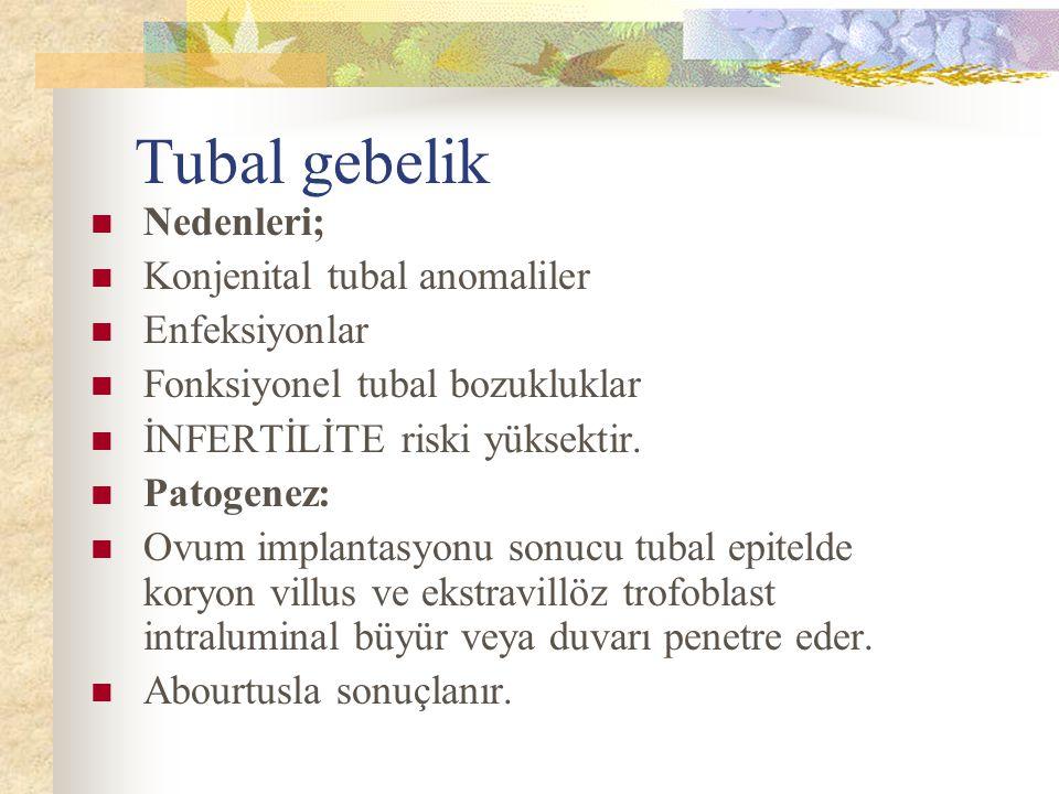 Tubal gebelik Nedenleri; Konjenital tubal anomaliler Enfeksiyonlar