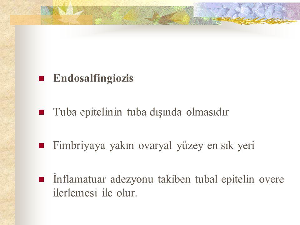 Endosalfingiozis Tuba epitelinin tuba dışında olmasıdır. Fimbriyaya yakın ovaryal yüzey en sık yeri.