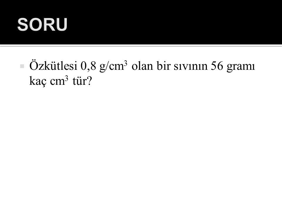 SORU Özkütlesi 0,8 g/cm3 olan bir sıvının 56 gramı kaç cm3 tür