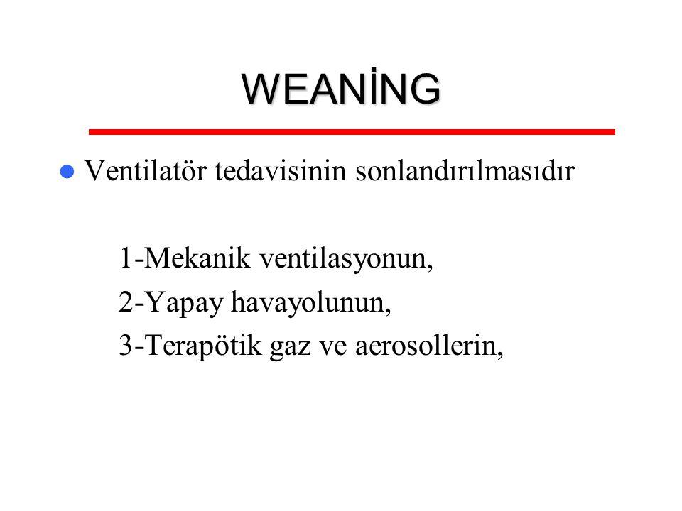 WEANİNG Ventilatör tedavisinin sonlandırılmasıdır