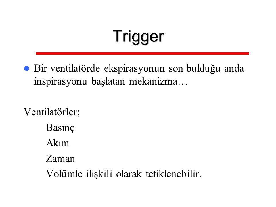 Trigger Bir ventilatörde ekspirasyonun son bulduğu anda inspirasyonu başlatan mekanizma… Ventilatörler;
