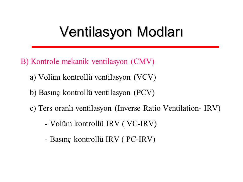Ventilasyon Modları B) Kontrole mekanik ventilasyon (CMV)