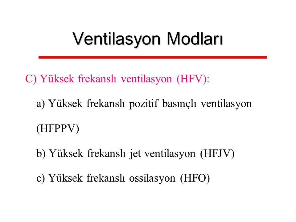 Ventilasyon Modları C) Yüksek frekanslı ventilasyon (HFV):