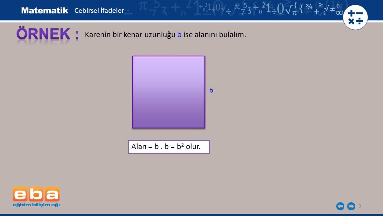 ÖRNEK : Karenin bir kenar uzunluğu b ise alanını bulalım.