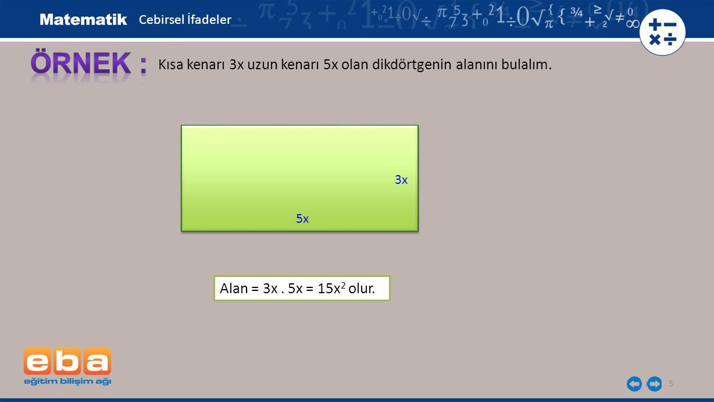 Cebirsel İfadeler ÖRNEK : Kısa kenarı 3x uzun kenarı 5x olan dikdörtgenin alanını bulalım. 3x. 5x.