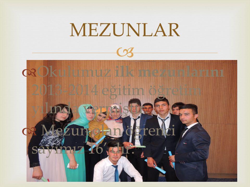 MEZUNLAR Okulumuz ilk mezunlarını 2013-2014 eğitim öğretim yılında vermiştir.