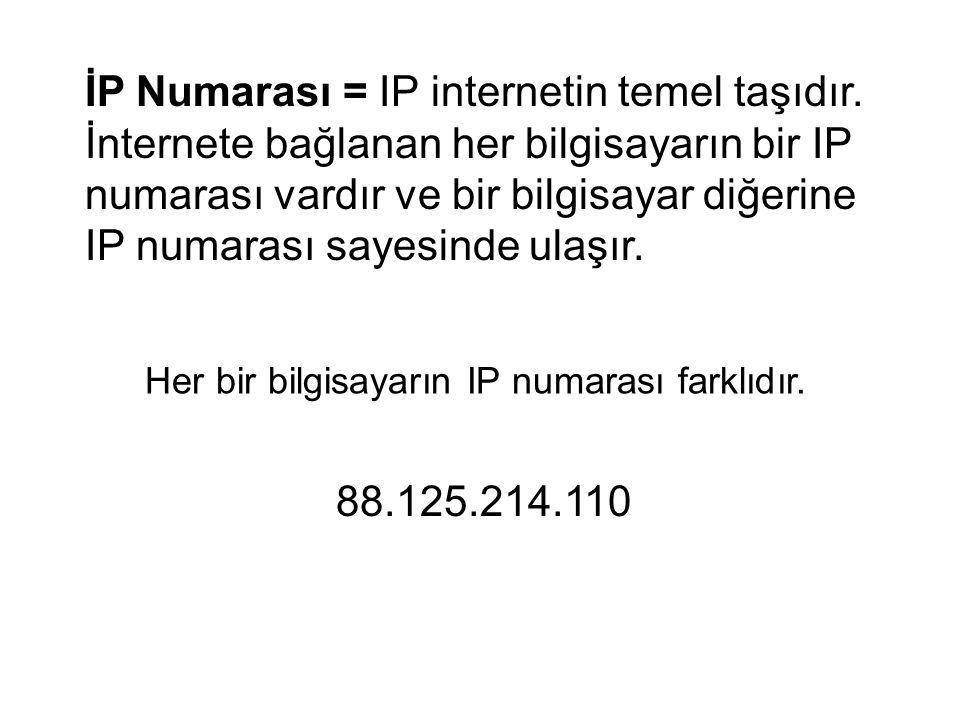 İP Numarası = IP internetin temel taşıdır