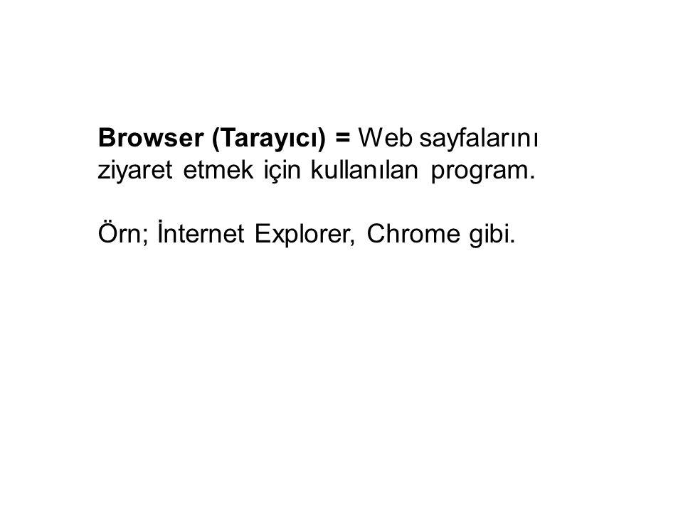 Browser (Tarayıcı) = Web sayfalarını ziyaret etmek için kullanılan program.