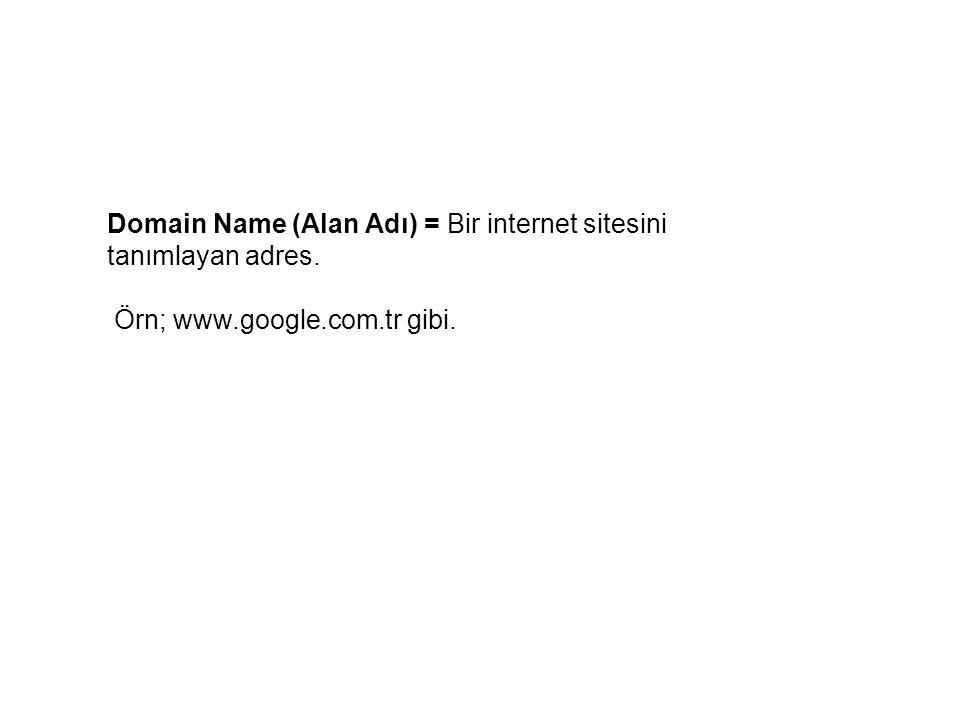 Domain Name (Alan Adı) = Bir internet sitesini tanımlayan adres.