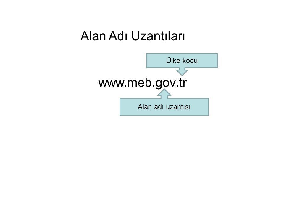 Alan Adı Uzantıları Ülke kodu www.meb.gov.tr Alan adı uzantısı