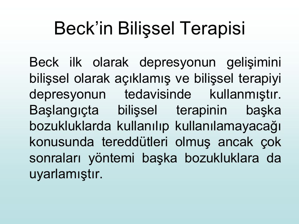 Beck'in Bilişsel Terapisi