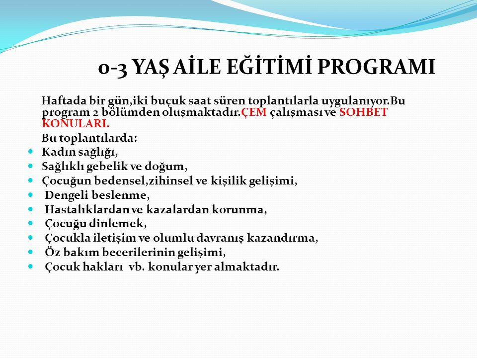 0-3 YAŞ AİLE EĞİTİMİ PROGRAMI