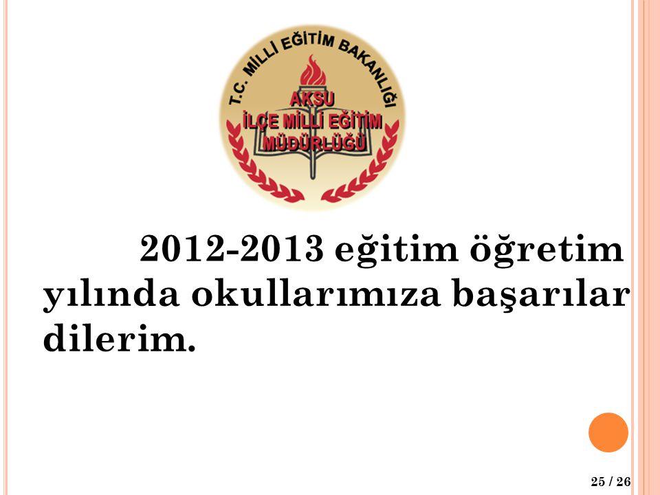 2012-2013 eğitim öğretim yılında okullarımıza başarılar dilerim.