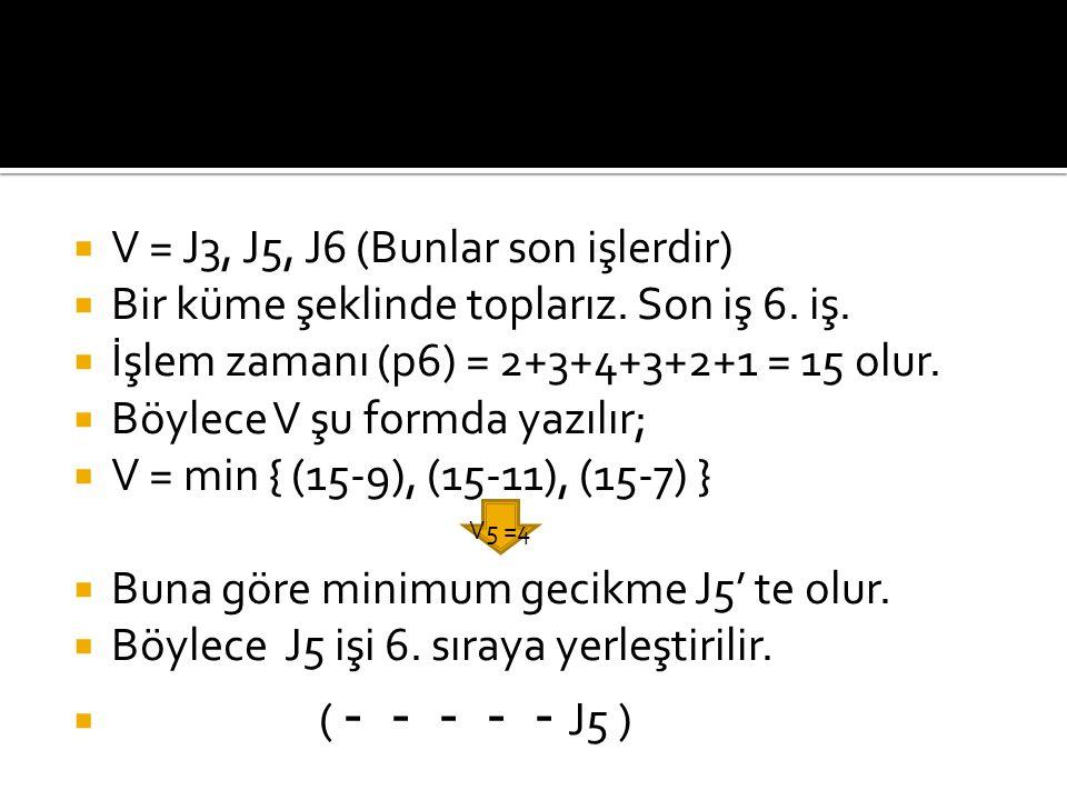 V = J3, J5, J6 (Bunlar son işlerdir)