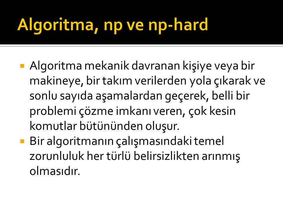 Algoritma, np ve np-hard