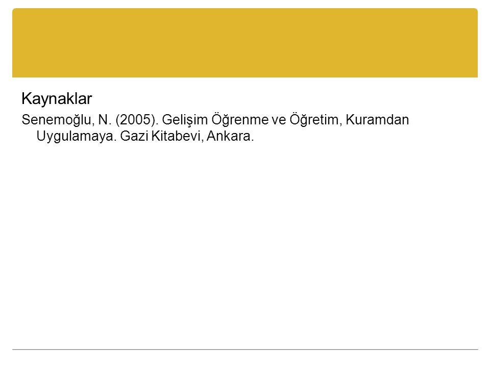 Kaynaklar Senemoğlu, N. (2005). Gelişim Öğrenme ve Öğretim, Kuramdan Uygulamaya.