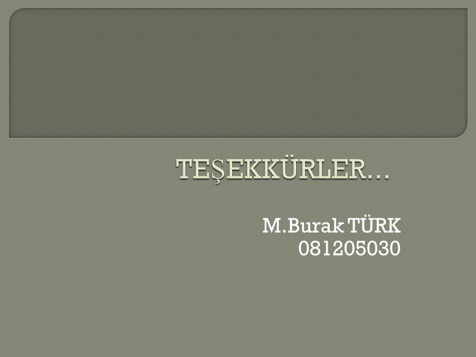 TEŞEKKÜRLER... M.Burak TÜRK 081205030
