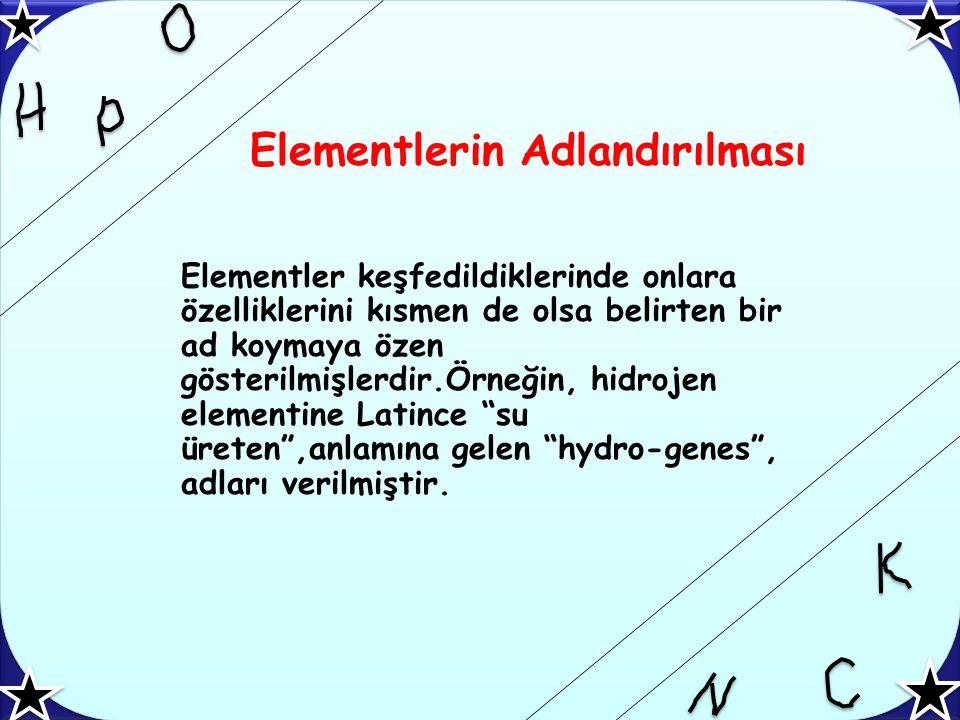 Elementlerin Adlandırılması