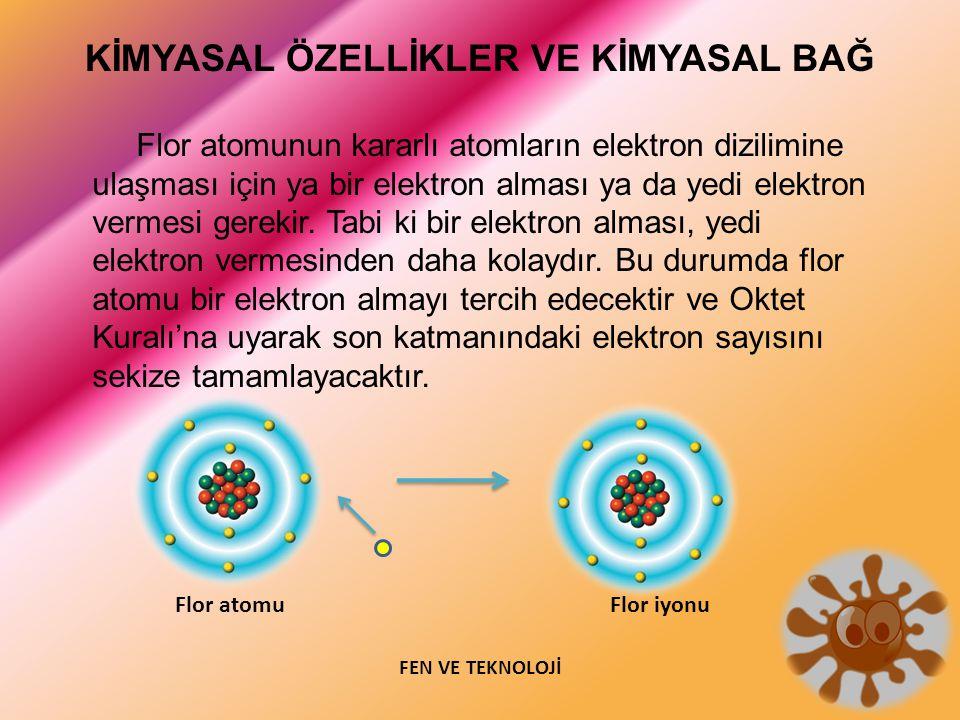 Flor atomunun kararlı atomların elektron dizilimine ulaşması için ya bir elektron alması ya da yedi elektron vermesi gerekir. Tabi ki bir elektron alması, yedi elektron vermesinden daha kolaydır. Bu durumda flor atomu bir elektron almayı tercih edecektir ve Oktet Kuralı'na uyarak son katmanındaki elektron sayısını sekize tamamlayacaktır.
