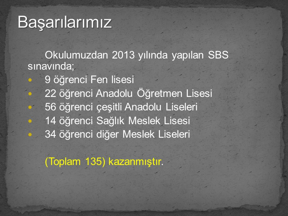 Başarılarımız Okulumuzdan 2013 yılında yapılan SBS sınavında;