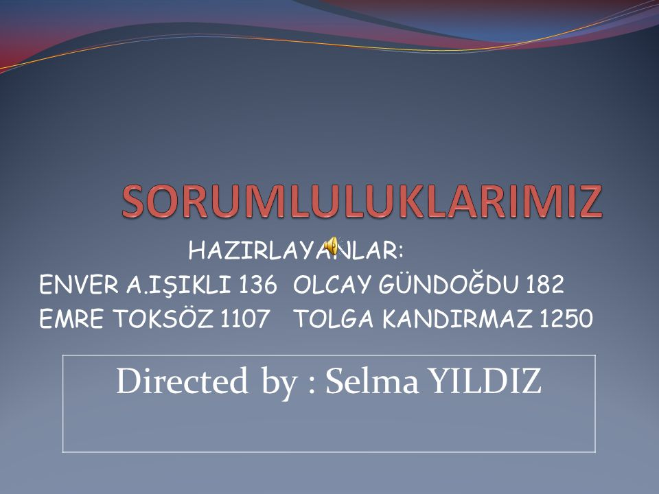 Directed by : Selma YILDIZ