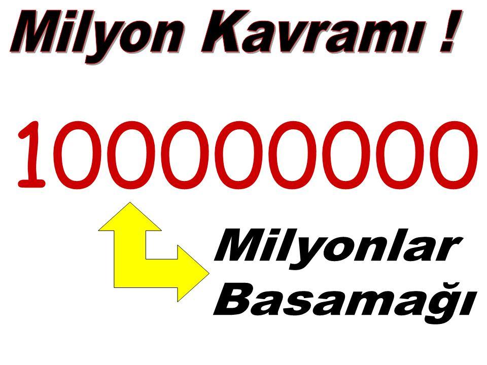 Milyon Kavramı ! 100000000 Milyonlar Basamağı