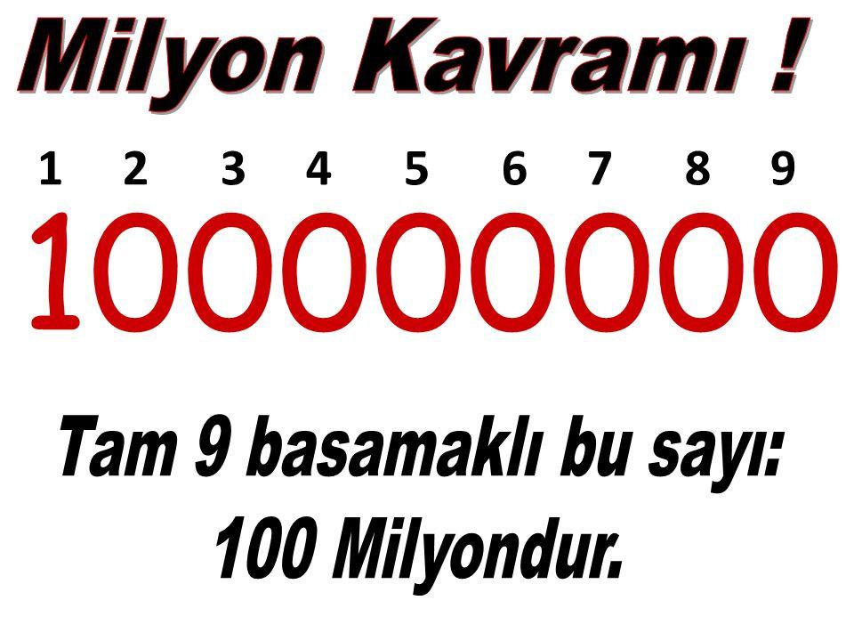 100000000 1 2 3 4 5 6 7 8 9 Milyon Kavramı ! Tam 9 basamaklı bu sayı: