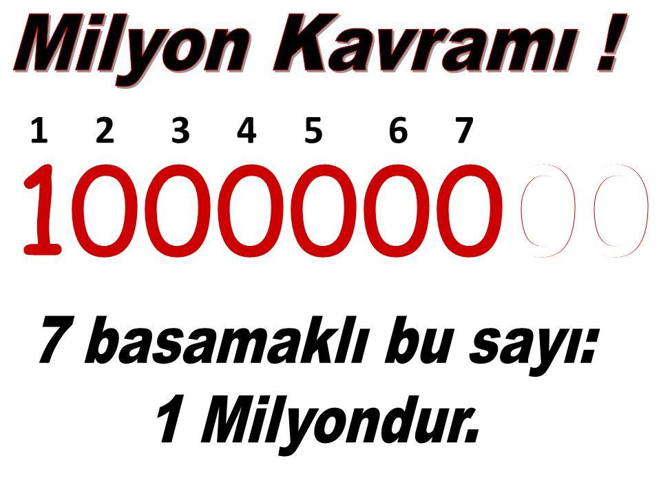 Milyon Kavramı ! 1 2 3 4 5 6 7. 100000000. 100000000. 7 basamaklı bu sayı: